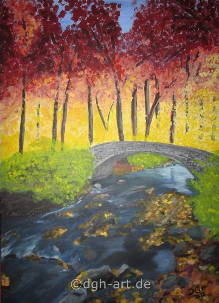 Herbstwald mit Bruecke