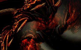 Abstraktes digital erstelltes Bild in dunkelgrün und rot, den Kampf von Rabe und Wolf gegen Medusa.