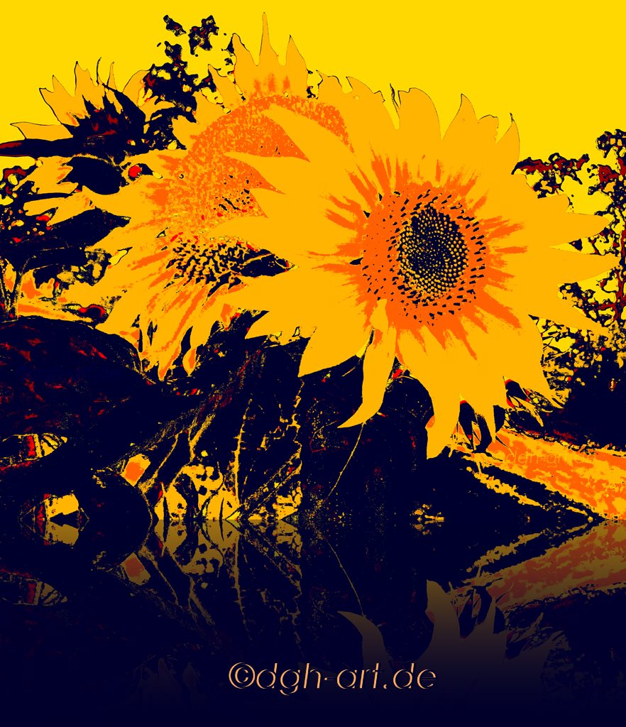 Sonnenblumen in blau und gelb